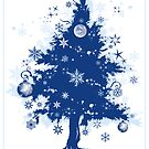 Christmas Card - Blue Decorative Christmas Tree by ruxique