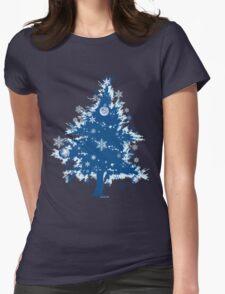Christmas T-shirt - Blue Christmas Tree Womens Fitted T-Shirt