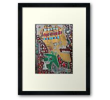 yellow head green dog Framed Print