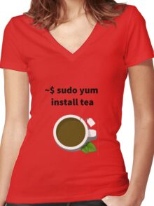 Linux sudo yum install tea Women's Fitted V-Neck T-Shirt