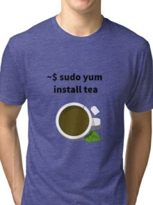 Linux sudo yum install tea Tri-blend T-Shirt
