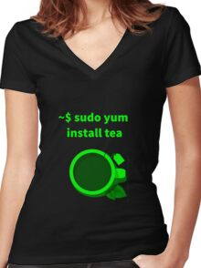 Linux sudo yum install tea Women's Fitted V-Neck T-Shirt