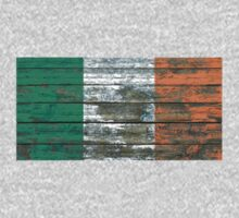 Flag of Ireland on Rough Wood Boards Effect Kids Tee