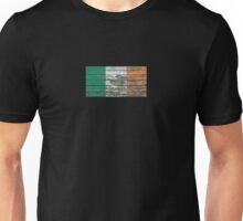Flag of Ireland on Rough Wood Boards Effect Unisex T-Shirt