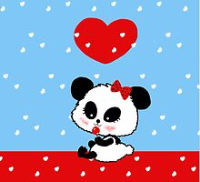 Panda baby girl cartoon red blue hearts by Cartoonistlg