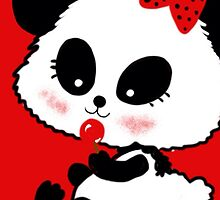 Cute Baby Girl Panda cartoon red black by Cartoonistlg