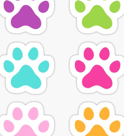 Colorful paw print stickers - purple, green, aqua blue, hot pink and orange Sticker