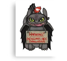 Toothless the dangerous. Canvas Print