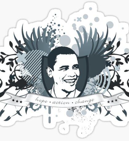 obama : hope action change Sticker