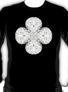 """Spirit of India: Fleur and Cross"" in white, grey and black T-Shirt"