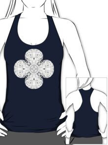 """""""Spirit of India: Fleur and Cross"""" in white, grey and black T-Shirt"""