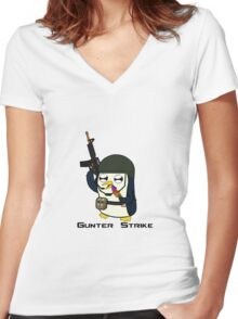Gunter Strike  Women's Fitted V-Neck T-Shirt