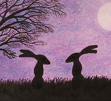 Hares Silhouettes with Tree, Moon and Purple Sky by Claudine Peronne
