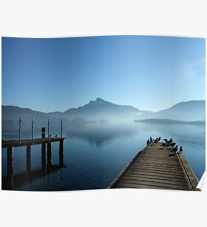 Morning fog at the Mondsee  Poster
