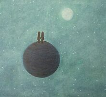 Soul Mates on Planet Earth with Moon and Stars by Claudine Peronne
