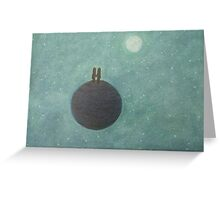 Moon and Stars and Romantic couple on Planet Greeting Card