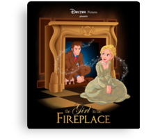 The Girl In The Fireplace Canvas Print