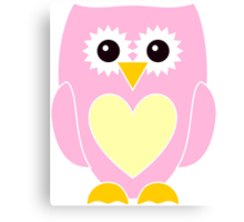 Pink Owl with Yellow Heart Canvas Print
