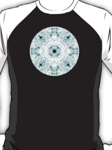 """Spirit of India: Two Crosses"" in white and turquoise T-Shirt"