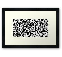 Pattern with black roses flowers.  Framed Print