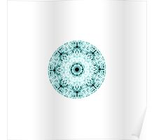 """Spirit of India: Two Crosses - Diamond"" in white and turquoise Poster"