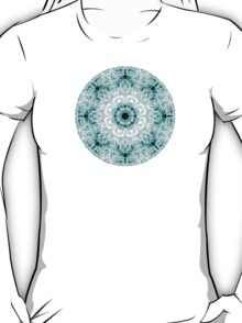 """Spirit of India: Two Crosses - Diamond"" in white and turquoise T-Shirt"