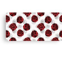 Floral Pattern. Rose Red Background Canvas Print