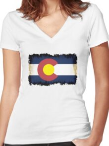 Colorado flag in Grunge Women's Fitted V-Neck T-Shirt