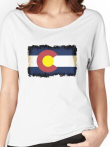 Colorado flag in Grunge Women's Relaxed Fit T-Shirt
