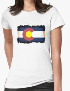 Colorado flag in Grunge Womens Fitted T-Shirt