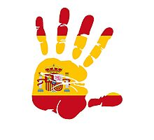 Spain flag in handprint Photographic Print