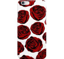 Pattern with red roses on white background.  iPhone Case/Skin