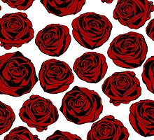 Pattern with red roses on white background.  by LourdelKaLou
