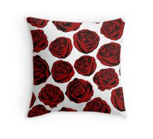 Pattern with red roses on white background.  Throw Pillow
