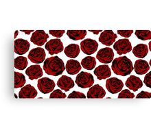 Pattern with red roses on white background.  Canvas Print