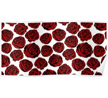 Pattern with red roses on white background.  Poster