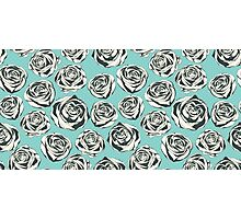 Retro floral pattern with hand drawn roses Photographic Print