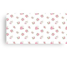 Cute vintage rose flower pattern on white background Canvas Print