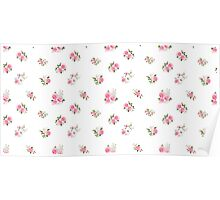 Cute vintage rose flower pattern on white background Poster