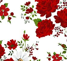 Red roses. Seamless floral background.  by LourdelKaLou