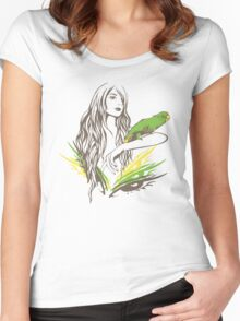 Parrot Girl - 1 Women's Fitted Scoop T-Shirt