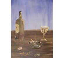 Breakfast with a glass of wine and a cigarette Photographic Print