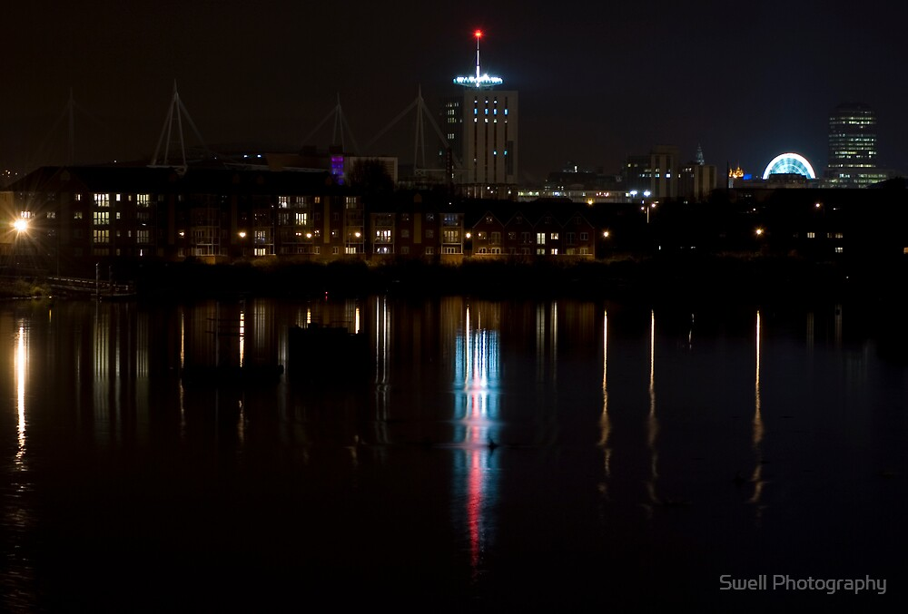Cardiff City by night by Swell Photography