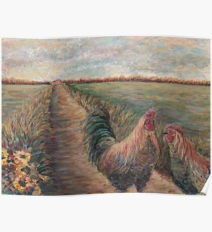 Provence Roosters Poster