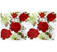 Beautiful red roses pattern on a white background. Poster