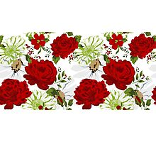 Beautiful red roses pattern on a white background. Photographic Print