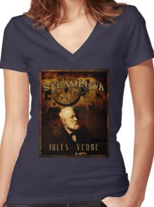 Steampunk Jules Verne Women's Fitted V-Neck T-Shirt
