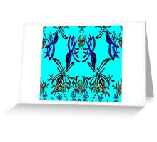 Abstract Flowers in Blue - all current products Greeting Card