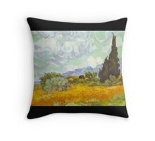 'Cornfield With Cypresses' by Vincent Van Gogh (Reproduction) Throw Pillow