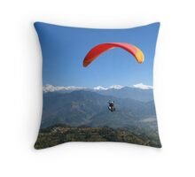 Paragliding in Pokhara Throw Pillow